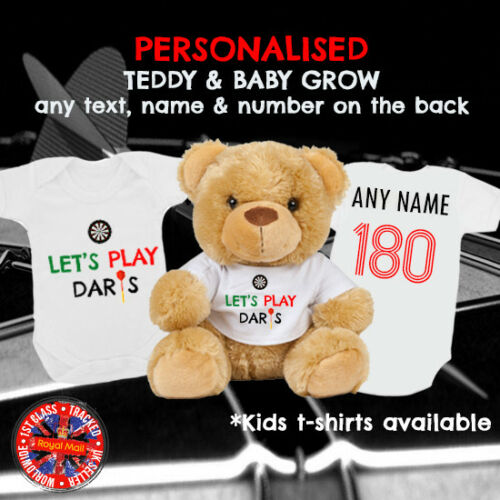 "Darts Personalised Babygrow /& Teddy Bear /""Let/'s Play Darts/"" Matching Gift Set"