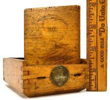 """Vintage WOODEN CIGARETTE CASE by """"FRANCO"""" Brass Nameplate TRINKET BOX Slide-Top!"""