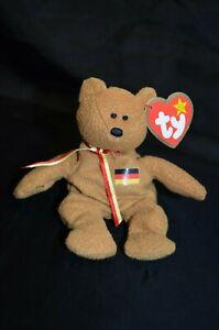 TY Teenie Beanie Baby, Germania the Bear, Brown, German Flag on Chest 1999