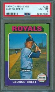 1975-O-Pee-Chee-OPC-Baseball-Trading-Card-GEORGE-BRETT-Rookie-Royals-228-PSA-8