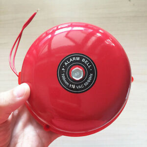 110V-4inch-100mm-Red-Iron-Fire-Alarm-Bell-Industry-School-Garage-Electric-Bell
