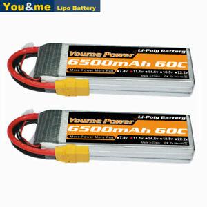 2pcs-11-1V-3S-6500mAh-Lipo-Batterie-60C-XT90-fuerr-RC-Flugzeu-Auto-Lkw-Akku