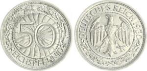 Weimar 50 Pfennig 1930 E Fast Extremely Fine (2)