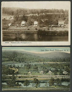 Phillipsport-NY-Two-c-1910-Postcards-PLEASURE-LAKE-RPPC-LAKE-SHORE-ROAD