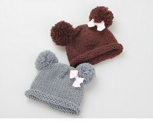 185a2c13 Details about Baby Pompom Hat Props crochet Knitted Pom Pom Hat Bow beanie  Photo Props