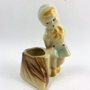 Shawnee-Pottery-Planter-Pot-Plants-Ceramic-Boy-With-Stump-Bohemian-Farmhouse-6