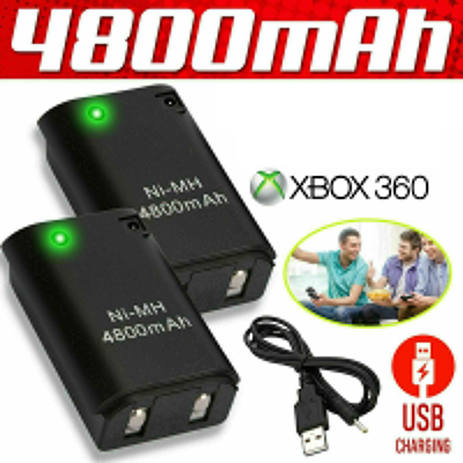 1pc Rechargeable Battery&Charger Cable For Microsoft Xbox360 Wireless Controller