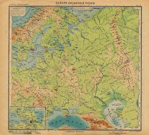 Europa Fisica Cartina Da Stampare.Carta Geografica Antica Europa Orientale Fisica Paravia 1941 Antique Map Ebay