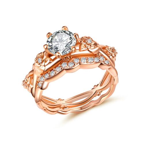 2pcs//set Women Wedding Rings for Women Rose Gold Filled White Sapphire Size 6-10