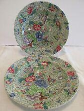 """2 Spode KING Green Chintz 9"""" PLATES Luncheon Copeland England Floral Butterflies"""