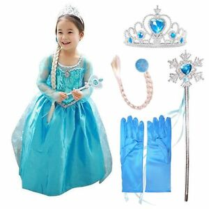 Snow-Queen-Elsa-Anna-Princess-Dress-Fancy-Costume-Girls-Kid-Party-Cosplay-Outfit