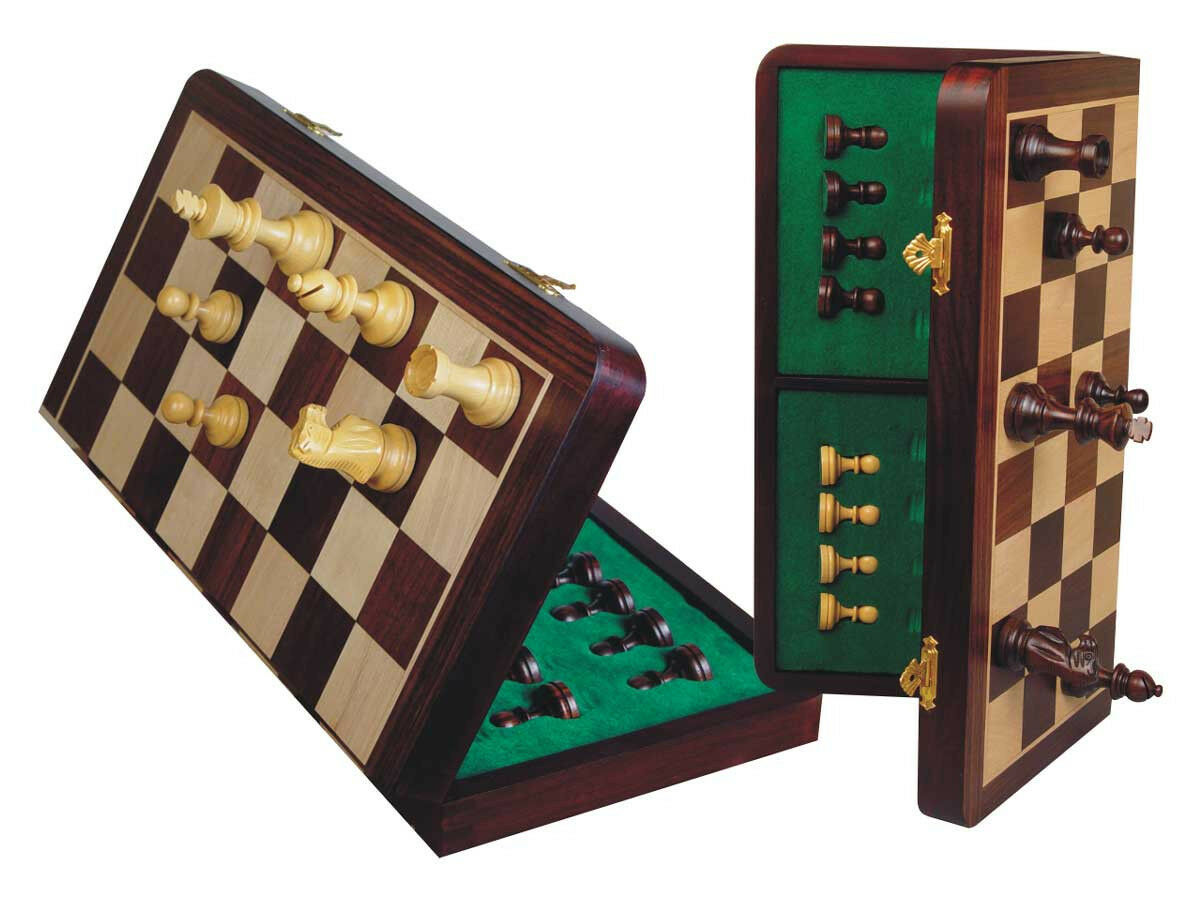 Wooden Chess Set Magnetic Folding 18  + King Size 3.5  pinkwood + Pouch