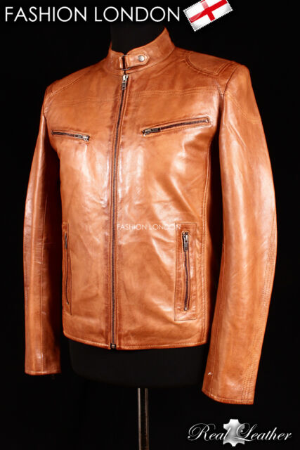 'FORCE' Vintage Brown Men's Retro Real Soft Sheep Nappa Fashion Leather Jacket