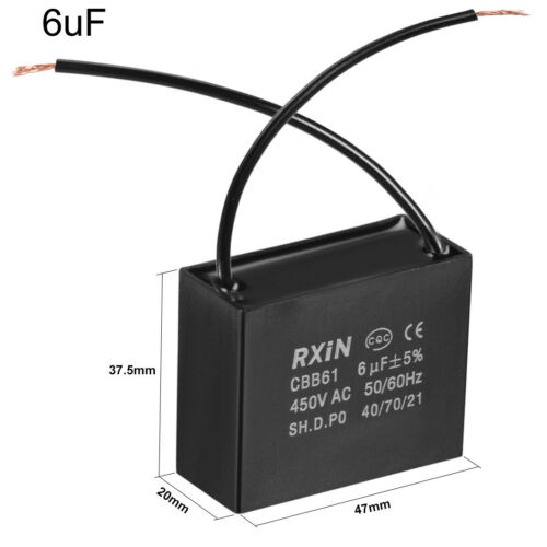 Run Capacitor 450VAC 1.5uF-15uF 2 Cable Metallized Polypropylene Film Capacitors