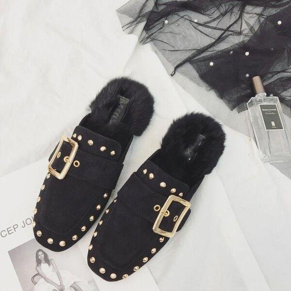 Bottes chaussons sabot noir clou chaudes laine polaire fourrure comme cuir 9535
