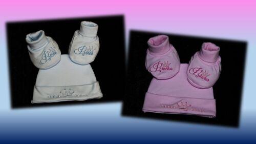 Set Baby Mütze Schuhe Geschenk Erstausstattung Princess Prince Gr 50 56 B