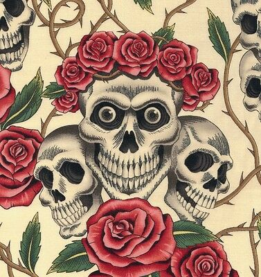 Alexander Henry Gothic Rose Tattoo Skulls & Roses on Cream Coloured Fabric - FQ