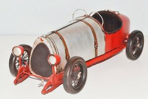Modellauto-Bugatti-Typ-12-Nostalgie-Blechmodell-Metall-37-cm-Neu-Ko