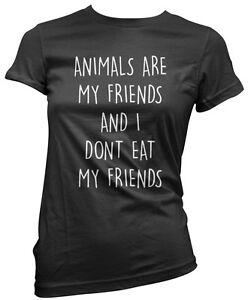 Vegan Vege Girls T-Shirt Animals are my friends /& I don/'t eat my friends