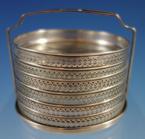 """Webster Sterling Silver and Cut Crystal Coaster Set 6pc 2 3//4/"""" x 3/"""" #2531"""