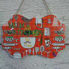 Wooden Retro Vintage Red Bake & Cook Plaque Mum's Kitchen Best Recipes Sign