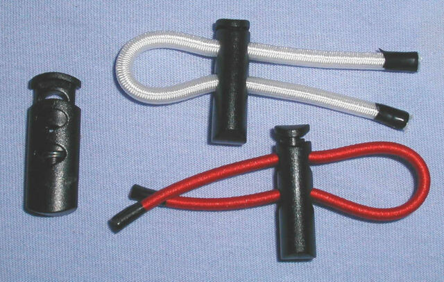 Twin hole (double) cord locks, High-Grip Type for 4 or 5mm elastic shock cord