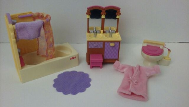 Loving Family Dollhouse Bathroom Set Shower Tub Double Sink Vanity Toilet