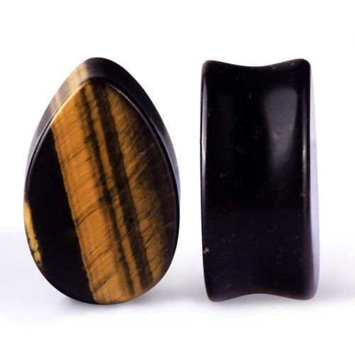 Pair Pear Shape Teardrop Organic Stone Ear Gauge Plug-Expander Stretcher Eyelets