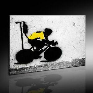 Banksy-Graffiti-Art-Lance-Armstrong-Leinwandbild-Kunstdruck-Wandbild-Leinwand