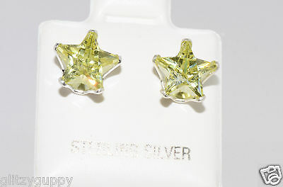 Sterling Silver STAR Earrings Peridot CZ August Birthstone Studs Green