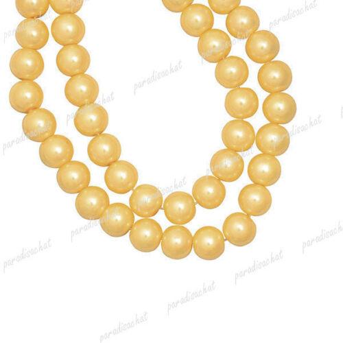 Perles Nacrée En Verre Ronde Czech 30 Couleurs 3 4 6 8 10 12 14mm