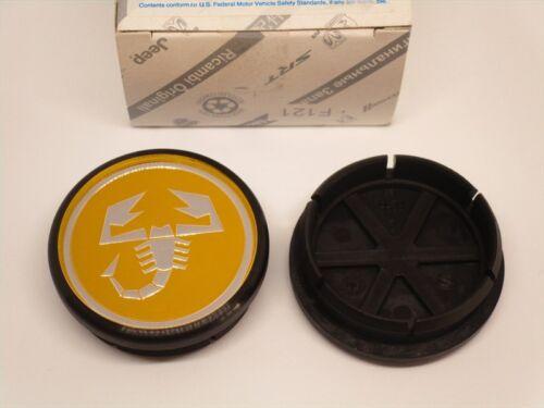 1 COPRIMOZZO ABARTH 500 PUNTO STEMMA ORIGINALE HUB CAP NABENDECKEL 50mm giallo