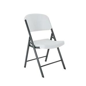 Lifetime 42804 Folding Chair With Molded Seat And Back White Granite Set Of  4