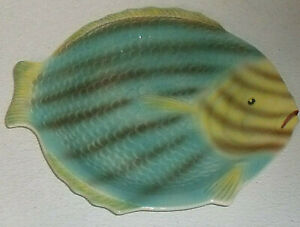 Shorter-And-Son-Fish-Plate-Fishware-Vtg-England-Hand-Painted-Art-Deco-10-034