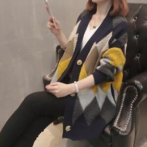 Krave Strikning Piger Loose Frakke Kvinders Mid Chic Sweater Ling Outwear V Cardigan qfBCnEw