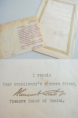 Brillant Maharaja Bhagvat Singh: 2 Signed Letters Gondal 1921 & 1928, Chamber Of Princes Um Jeden Preis