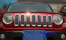 For Jeep Patriot 11-17 Chrome mesh Grille trim + Headlight Lamp Ring cover 9PCS