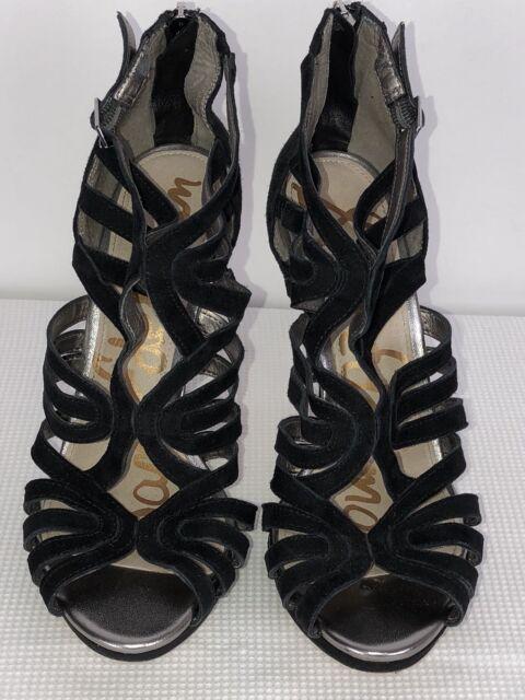 Sam Edelman Womens Suede Stiletto Sandal Sz 7.5M Black
