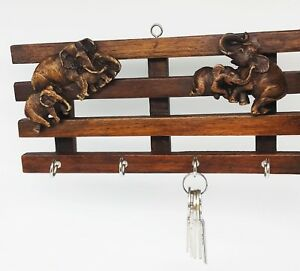 Key Holder Wall Elephant Teak Wood Home Decor Wall Art Gift Handmade