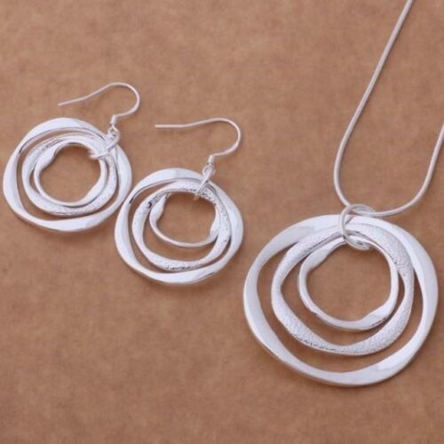 925 Sterling Silver Large Round Pendant Necklace Drop Dangle Earring Set Gift