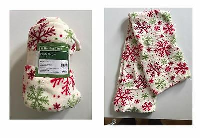 Holiday Time Plush Throw Christmas Fresh Ivory 50 x 60 inches Blanket