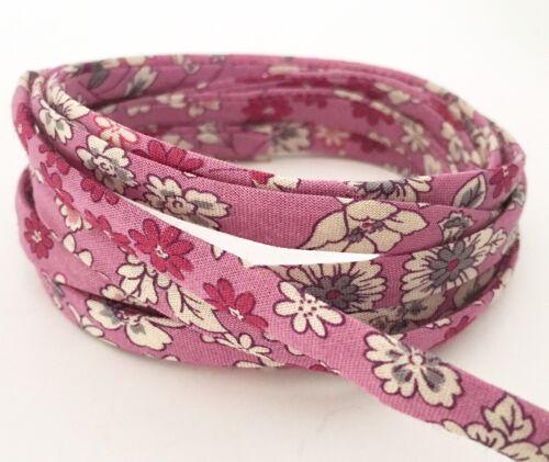 2 Metres Frou Frou Cotton Lawn 7mm Spaghetti Cord Fleuri 1 Pink Floral
