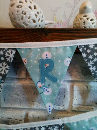 Snowflake and Snowman MERRY CHRISTMAS handmade fabric bunting