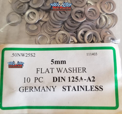 M5 FLAT WASHER STAINLESS STEEL 10//pk GERMANY 5MM DIN125A-A2