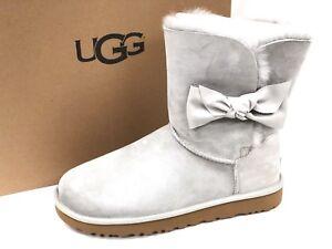 79a755bcf40 Details about UGG Australia Women's DAELYNN Grey Violet 1019983 Sheepskin  Suede Bow Ankle Boot