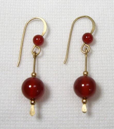 Lyns Jewelry Red Carnelian Agate Drop Earrings Gold