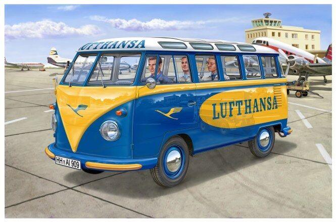 VW T1 Samba Bus Lufthansa, Revell Car Model Kit 1 24, 07436