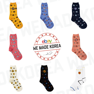BT21-Character-Flower-Mid-Socks-2-pairs-Set-7types-Official-K-POP-Authentic-MD
