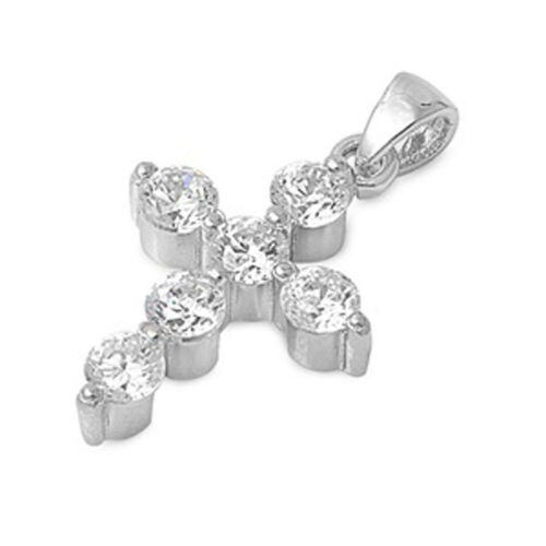 Cross Pendant Clear Simulated CZ .925 Sterling Silver Charm