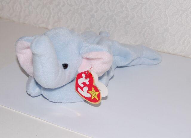 MWMT Ty Beanie Baby Peanut Elephant light Blue 1995